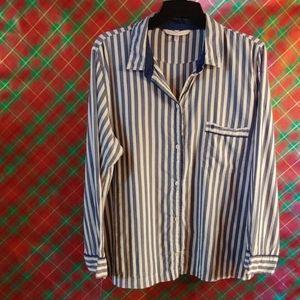 Victoria Secret blue stripped night shirt large